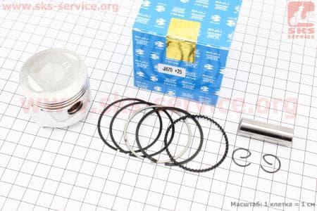 Поршень, палец, кольца к-кт 70сс 47мм +0,25 для мопедов Delta (Viper) купить в Украине