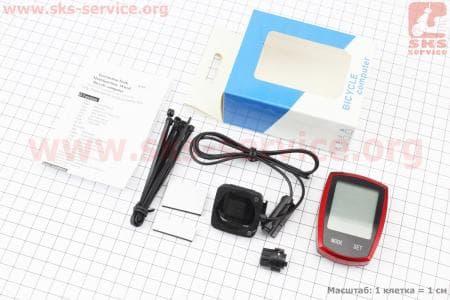 """Вело-компьютер 22-функции, проводной, 1.9 """" дисплей с сенсорными кнопками управления, влагозащитный, черно-красный YS-589A"""
