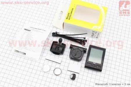 """Вело-компьютер 20-функций, беспроводной, 1.9 """" дисплей, влагозащитный, черный YS-858С"""