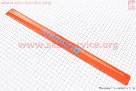 Защита штанов от попадания в цепь, светоотражающая, оранжевая SHIMANO для велосипеда