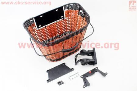 Корзина багажная на руль съемная, коричневая JL-CK101 для велосипеда