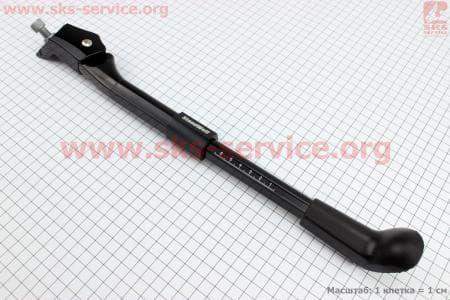 """Подножка велосипедная боковая центральная телескопическая для 24"""" - 28"""", алюминиевая, черная"""