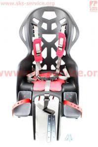 Сиденье велосипедное для перевозки детей пластмассовое заднее, крепл. на багажник, пятиточечный ремень безопасности