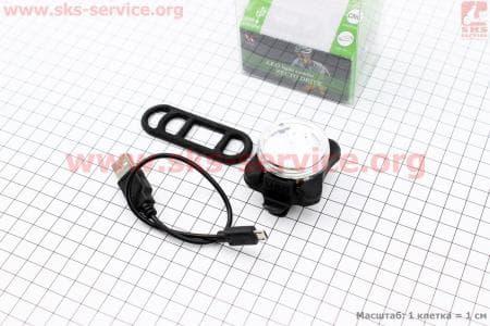 Фонарь велосипедный передний 3 диода 20 lumen, Li-ion 3.7V 650mAh зарядка от USB, влагозащитний