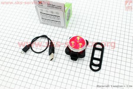 Фонарь велосипедный задний 3 диода 10 lumen, Li-ion 3.7V 650mAh зарядка от USB, влагозащитний