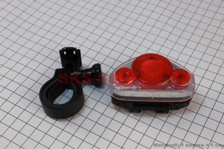 Фонарь задний 5 диодов, JY-312 (без батареек) для велосипеда