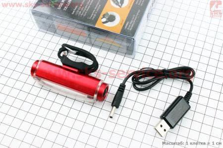 Фонарь велосипедный задний 16 диодов 100 lumen, Li-ion 3.7V 500mAh зарядка от USB, влагозащитный