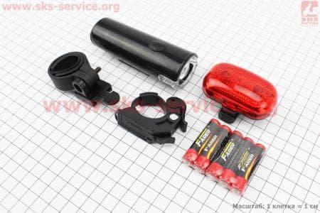 Фонари велосипедные передний 1 диод (линза) + задний 3 диода к-кт