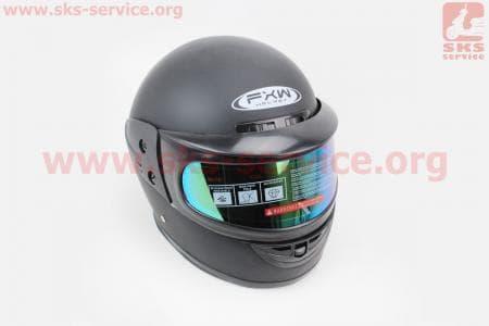 Шлем закрытый HF-101 M- ЧЕРНЫЙ матовый + стекло зеркальное+ воротник