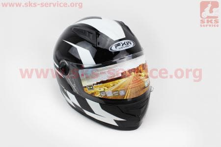 Шлем закрытый HF-111 S- ЧЕРНЫЙ с белым рисунком Q150W