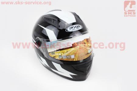 Шлем закрытый HF-111 M- ЧЕРНЫЙ с белым рисунком Q150W