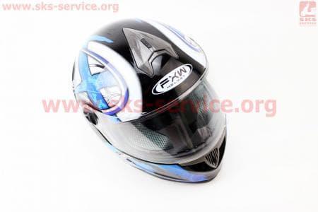 Шлем закрытый HF-122 S- ЧЕРНЫЙ глянец с сине-белым рисунком Q100B