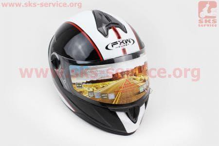 Шлем закрытый HF-122 M- ЧЕРНЫЙ глянец с белой полосой Q66