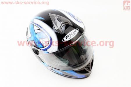 Шлем закрытый HF-122 М- ЧЕРНЫЙ глянец с сине-белым рисунком Q100B
