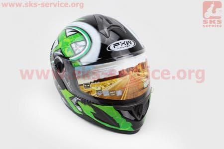 Шлем закрытый HF-122 L- ЧЕРНЫЙ глянец с бело-зеленым рисунком Q100G