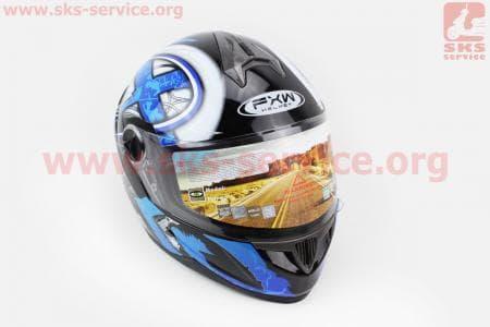 Шлем закрытый HF-122 L- ЧЕРНЫЙ глянец с сине-белым рисунком Q100B