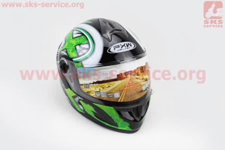 Шлем закрытый HF-122 XL- ЧЕРНЫЙ глянец с бело-зеленым рисунком Q100G