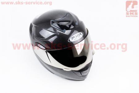 """Шлем закрытый с откидным подбородком+очки HF-119 S- """"КАРБОН"""""""