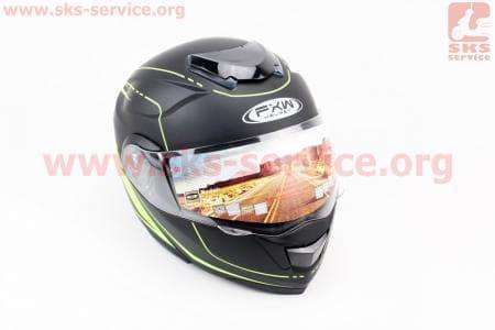 Шлем закрытый с откидным подбородком+очки HF-119 M- ЧЕРНЫЙ матовый с зеленым рисунком