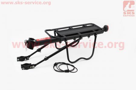 """Багажник велосипедный 24 - 26"""" алюминий, регулируемое крепление, под дисковый тормоз, крепл. за трубу сидения, черный DLRC-101"""