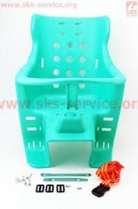 Сиденье велосипедное для перевозки детей пластмассовое заднее, крепл. на багажник, зеленое