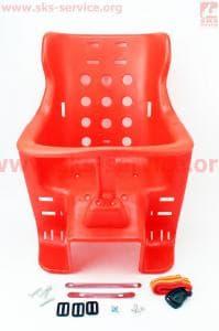Сиденье велосипедное для перевозки детей пластмассовое заднее, крепл. на багажник, красное