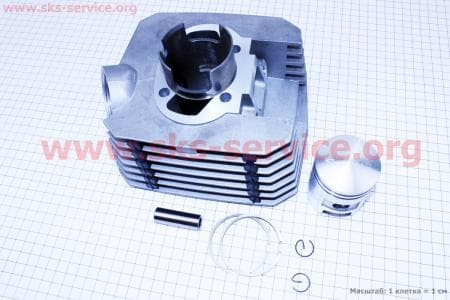 Цилиндр к-кт (цпг) 125cc-52мм для мотоцикла Минск