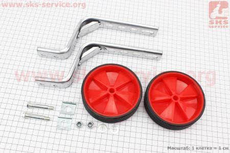 Колёса велосипедные боковые универсальные, красные Lumari HR09