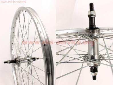 """Колесо велосипедное 24"""" заднее алюминиевый обод, втулка 14Gx36H в сборе, под вольнобег, крепл. гайка"""