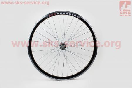 """Колесо велосипедное 26"""" заднее MTB """"капля"""" обод алюминиевый, втулка 14Gx36H в сборе, под вольнобег, диск. тормоз, крепл. гайка """"SCORPION"""""""
