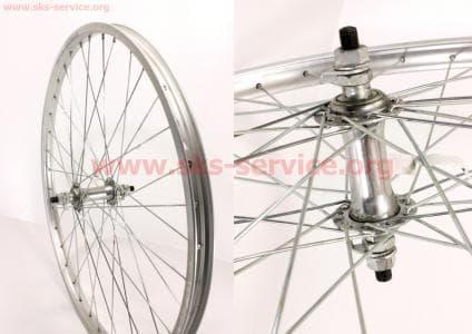 """Колесо велосипедное 24"""" переднее MTB обод алюминиевый, втулка 14Gx36H в сборе, крепл. гайка"""