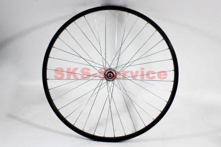 """Колесо велосипедное 26"""" заднее MTB обод и втулка алюминиевые 14Gx36H в сборе, под вольнобег, крепл. гайка"""
