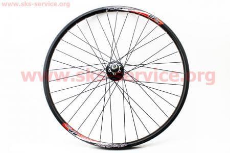 """Колесо велосипедное 26"""" заднее MTB """"капля"""" пистонированный обод и втулка алюминиевые 14Gx36H в сборе, под кассету 8-9зв, диск.тормоз, крепл. гайка """"Alex Rims DP20"""""""