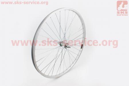 """Колесо велосипедное 26"""" переднее МТВ обод алюминиевый, втулка 14Gх36Н в сборе, крепл. гайка"""