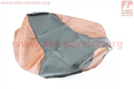 Чехол сиденья Юпитер-3-4 (эластичный, прочный материал) черный/коричневыйна мотоцикл ИЖ