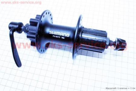 Втулка задняя MTB алюминиевая 14Gx36H под кассету 8-9-10зв, диск. тормоз, крепл. эксцентрик, черная HB-M475для велосипеда