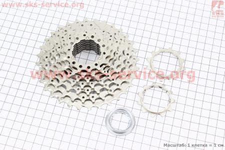 Кассета 9зв. 32,28,24,21,18,16,14,12,11Т, хром ALIVIO CS-HG400для велосипеда