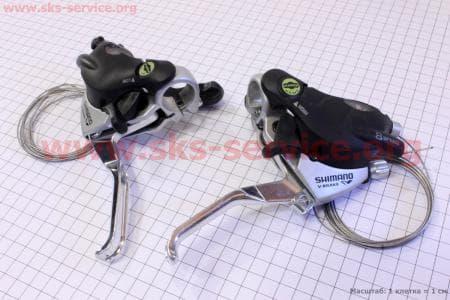 """Переключатель """"манетка"""" левый (3ск)+правый (8ск) к-кт, ST-EF 29для велосипеда"""