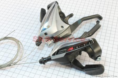 """Переключатель с рычагом """"манетка"""" лев.(3ск)+прав.(8ск) к-кт ST-EF 60для велосипеда"""