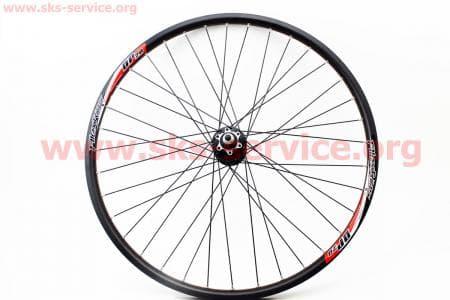 """Колесо велосипедное 26"""" переднее MTB """"капля"""" пистонированный обод и втулка алюминиевые 14Gx36H в сборе, под диск.тормоз, крепл. гайка """"Alex Rims DP20"""""""
