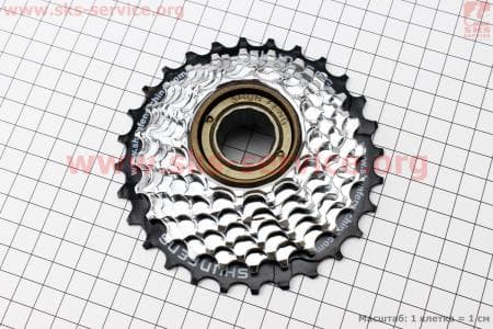 Вольнобег 7зв. 28,24,22,20,18,16,14Т index, хром SF-FW05для велосипеда