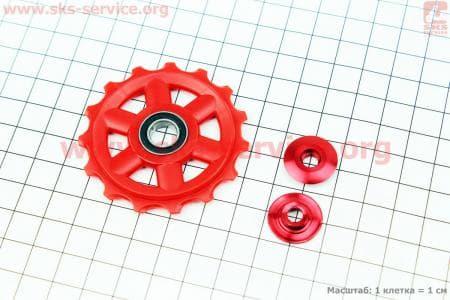 Ролик перекидки цепи задней 15T, пром-подшипник 689RS, пластиковый, красный для велосипеда