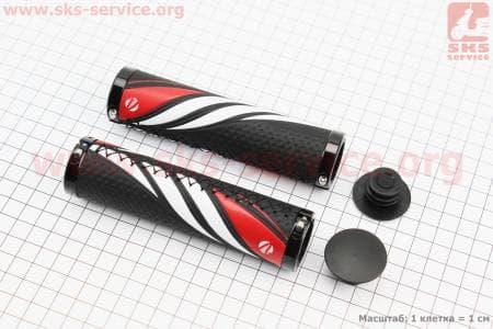 Ручки руля 130мм с зажимом Lock-On с двух сторон, экокожа, черно-бело-красные VLG-851 для велосипеда
