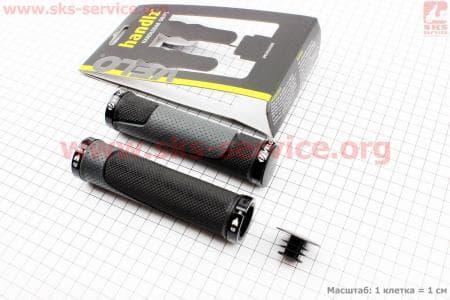 Ручки руля 130мм с зажимом Lock-On с двух сторон, черно-серые VLG-776 для велосипеда