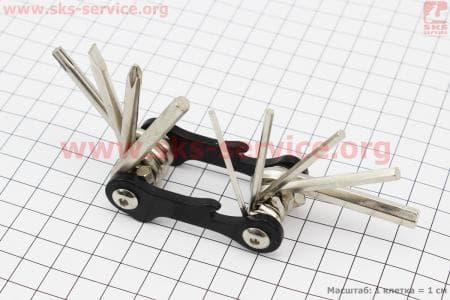Ключ-набор 10 предметов (шестигранники 2,2.5,3,4,5,6мм, отвёртки прямая и фигурная, Т25 ключ-звездочка, открывалка), KL-9834A для велосипедов