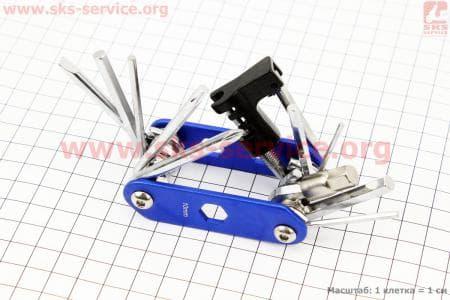 Ключ-набор 15 предметов (шестигранники 2,2.5,3,4,5,6,8мм, отвёртки прямая и фигурная, Т25 ключ-звездочка,гаечные ключи 8,9,10мм, выжимка цепи, лопатка) для велосипедов.