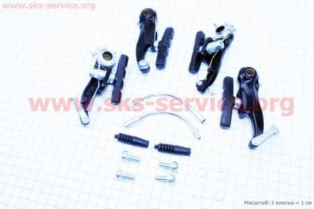Тормоз V-brake задний+передний в сборе 80мм, алюминиевые, черные SYPO YD-V29 для велосипеда