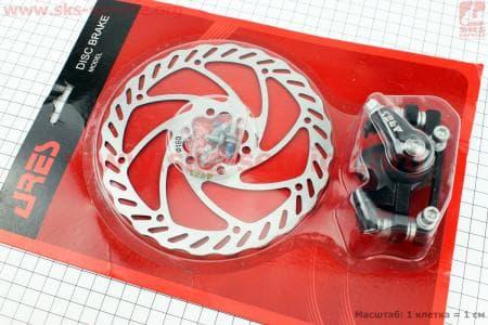 Тормоз дисковый передний (адаптер F160/R140мм) + тормозной диск 160мм, под 6 болтов, к-ктдля велосипеда