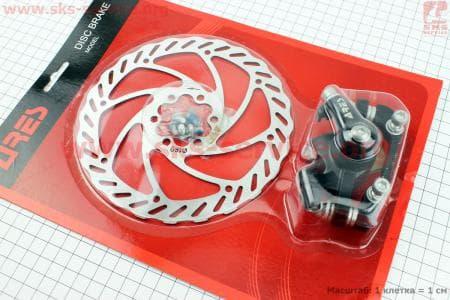 Тормоз дисковый задний (адаптер F180/R160мм) + тормозной диск 160мм, под 6 болтов, к-ктдля велосипеда