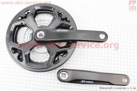 """Шатуны """"квадрат"""" 170мм, 48.38.28T MTB, алюминиевые, черные TY-CN02 для велосипеда"""